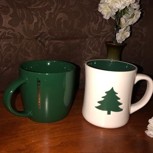 STARBUCKS Coffee Mugs Cups Set of 2 Christmas Tree
